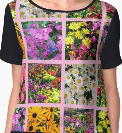 COLORFUL WILD FLOWER PHOTO COLLAGE Chiffon Top