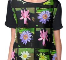 COLORFUL WATER LILY PHOTO COLLAGE Chiffon Top