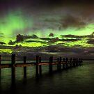 Awarua Bay and Aurora Australis by Kimball Chen
