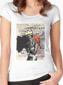 basquiat (white border) Women's Fitted Scoop T-Shirt