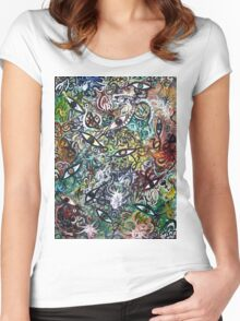 Abstract Psychedelic Geometric Eyes Women's Fitted Scoop T-Shirt