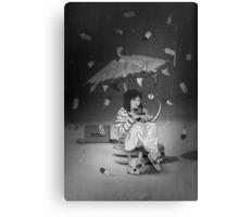 Tea Party with girl and French Bulldog on the Moon Canvas Print
