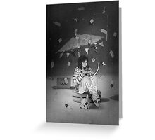 Tea Party with girl and French Bulldog on the Moon Greeting Card