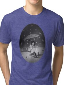 Tea Party with girl and French Bulldog on the Moon Tri-blend T-Shirt