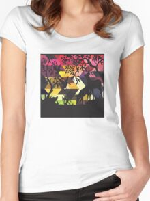 Geometric Silhouette No. 2 Women's Fitted Scoop T-Shirt