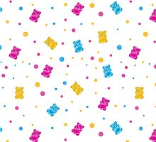 Pattern with jelly bears by Olena Syerozhym