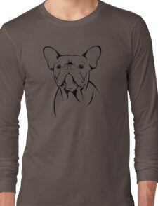 cute french bulldog face Long Sleeve T-Shirt