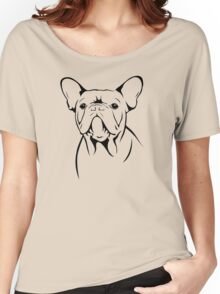 cute french bulldog face Women's Relaxed Fit T-Shirt
