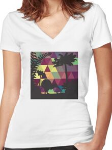 Geometric Silhouette No. 3 Women's Fitted V-Neck T-Shirt