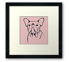 cute french bulldog face Framed Print