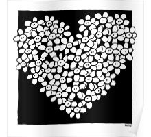 Hearted flowers Poster
