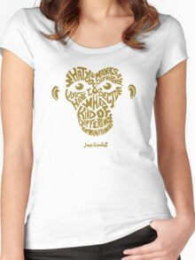 Jane Goodall monkey face Women's Fitted Scoop T-Shirt