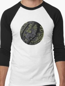 Copenhagen city map engraving Men's Baseball ¾ T-Shirt