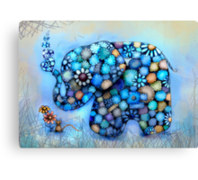 Little Blue the Patchwork Elephant Canvas Print