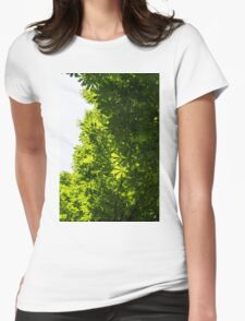 More Than Fifty Shades Of Green - Sunlit Chestnut Leaves Patterns - Vertical Right One Womens Fitted T-Shirt
