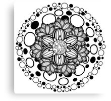 Flower Ornament Black and White Canvas Print