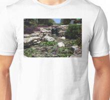 Oil Painting of Waterfall and Lily Pond near San Antonio Riverwalk Unisex T-Shirt
