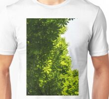 More Than Fifty Shades Of Green - Sunlit Chestnut Leaves Patterns - Vertical Left One Unisex T-Shirt