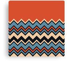Chevron Orange Blue Beige Black Zigzag Pattern Canvas Print
