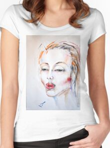 Girl's portrait. Red hair. Watercolor Women's Fitted Scoop T-Shirt
