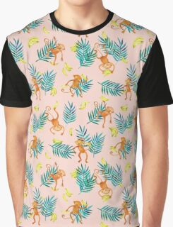 Tropical Monkey Banana Bonanza on Blush Pink Graphic T-Shirt