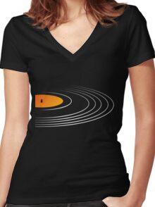 Music Retro Vinyl Record  Women's Fitted V-Neck T-Shirt