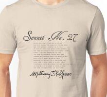 Shakespeare Sonnet No. 27 Unisex T-Shirt