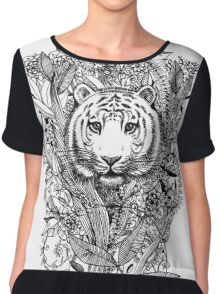 Tiger Tangle in Black and White Chiffon Top