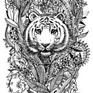 Tiger Tangle in Black and White by micklyn