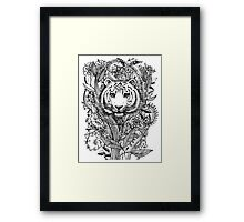 Tiger Tangle in Black and White Framed Print