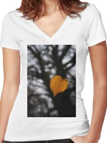Lonely Little Leaf Women's Fitted V-Neck T-Shirt