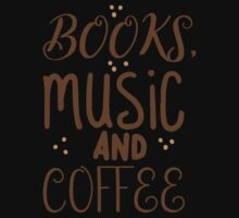 books, music and coffee Kids Tee