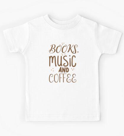 books, music and coffee Kids Tee