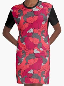 Purrrfect Pattern (Red) Graphic T-Shirt Dress