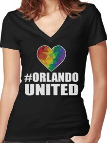 Orlando United T-Shirt - Pray For Orlando Shirt Women's Fitted V-Neck T-Shirt
