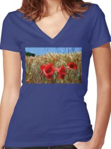 Poppies On The Field Women's Fitted V-Neck T-Shirt