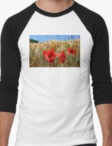 Poppies On The Field Men's Baseball ¾ T-Shirt