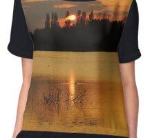 sunset by the lake Chiffon Top