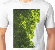 More Than Fifty Shades Of Green – Sunlit Chestnut Leaves Patterns – Vertical Left Two Unisex T-Shirt