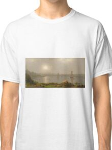 Martin Johnson Heade - York Harbor, Coast Of Maine 1877. Lake landscape: trees, river, land, forest, coast seaside, waves and beach, marine naval navy, lagoon reflection Classic T-Shirt