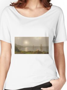 Martin Johnson Heade - York Harbor, Coast Of Maine 1877. Lake landscape: trees, river, land, forest, coast seaside, waves and beach, marine naval navy, lagoon reflection Women's Relaxed Fit T-Shirt