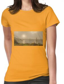 Martin Johnson Heade - York Harbor, Coast Of Maine 1877. Lake landscape: trees, river, land, forest, coast seaside, waves and beach, marine naval navy, lagoon reflection Womens Fitted T-Shirt