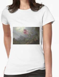 Martin Johnson Heade - Two Hummingbirds With An Orchid 1875. Garden landscape: garden view, trees and flowers, blossom,  lotus blossom, botanical park, orchid, wonderful flowers Womens Fitted T-Shirt