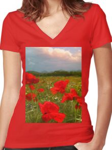 I Love Poppies  Women's Fitted V-Neck T-Shirt