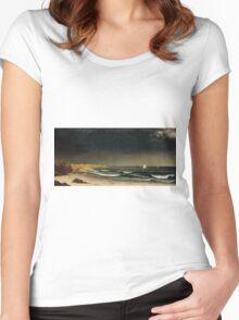 Martin Johnson Heade - Approaching Storm Beach Near Newport 1861. Sea landscape: sea view,  Storm, thunderstorm, sailing boat, severe, waves and beach, rain, seascape, sun clouds Women's Fitted Scoop T-Shirt