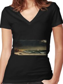 Martin Johnson Heade - Approaching Storm Beach Near Newport 1861. Sea landscape: sea view,  Storm, thunderstorm, sailing boat, severe, waves and beach, rain, seascape, sun clouds Women's Fitted V-Neck T-Shirt