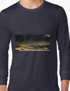 Martin Johnson Heade - Approaching Storm Beach Near Newport 1861. Sea landscape: sea view,  Storm, thunderstorm, sailing boat, severe, waves and beach, rain, seascape, sun clouds Long Sleeve T-Shirt