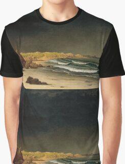 Martin Johnson Heade - Approaching Storm Beach Near Newport 1861. Sea landscape: sea view,  Storm, thunderstorm, sailing boat, severe, waves and beach, rain, seascape, sun clouds Graphic T-Shirt