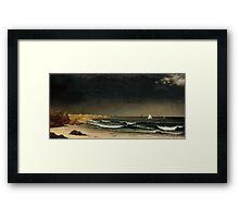 Martin Johnson Heade - Approaching Storm Beach Near Newport 1861. Sea landscape: sea view,  Storm, thunderstorm, sailing boat, severe, waves and beach, rain, seascape, sun clouds Framed Print