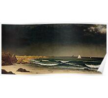 Martin Johnson Heade - Approaching Storm Beach Near Newport 1861. Sea landscape: sea view,  Storm, thunderstorm, sailing boat, severe, waves and beach, rain, seascape, sun clouds Poster